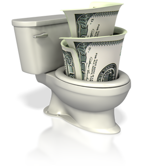 toilet with money